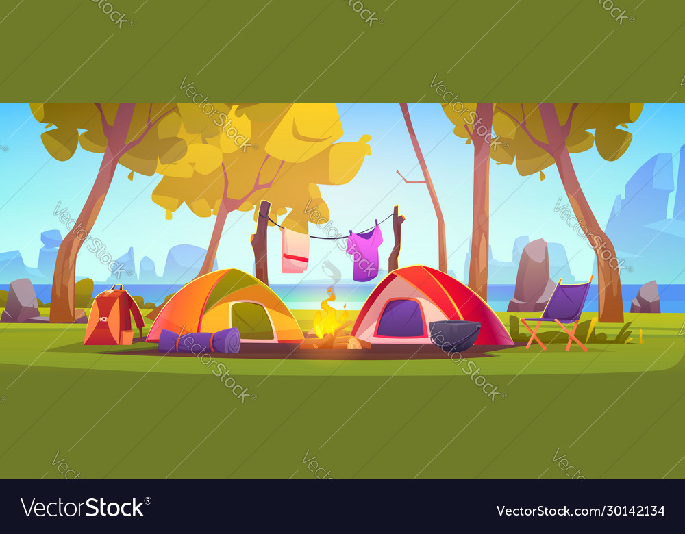 Summer camp with tent campfire and lake