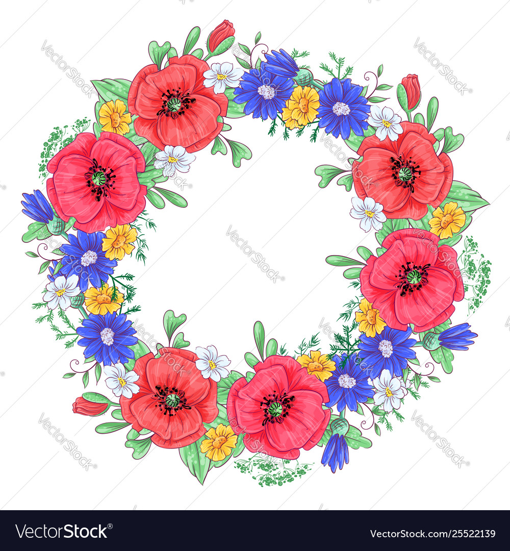 A wreath red poppies and daisies hand drawing