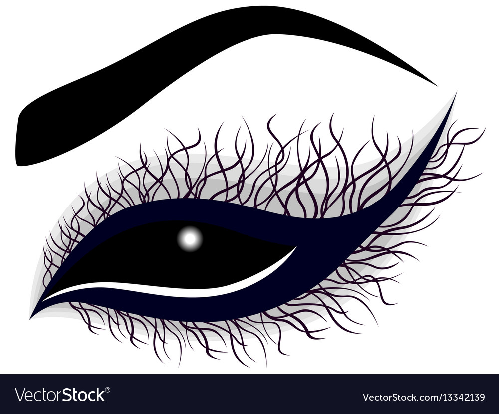 Abstract female eye with long curling eyelashes vector image