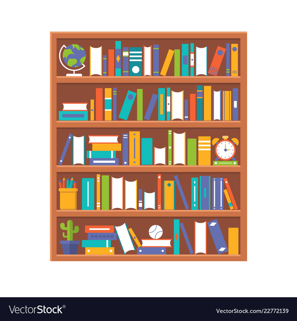 Book shelf and stationary flat design back to