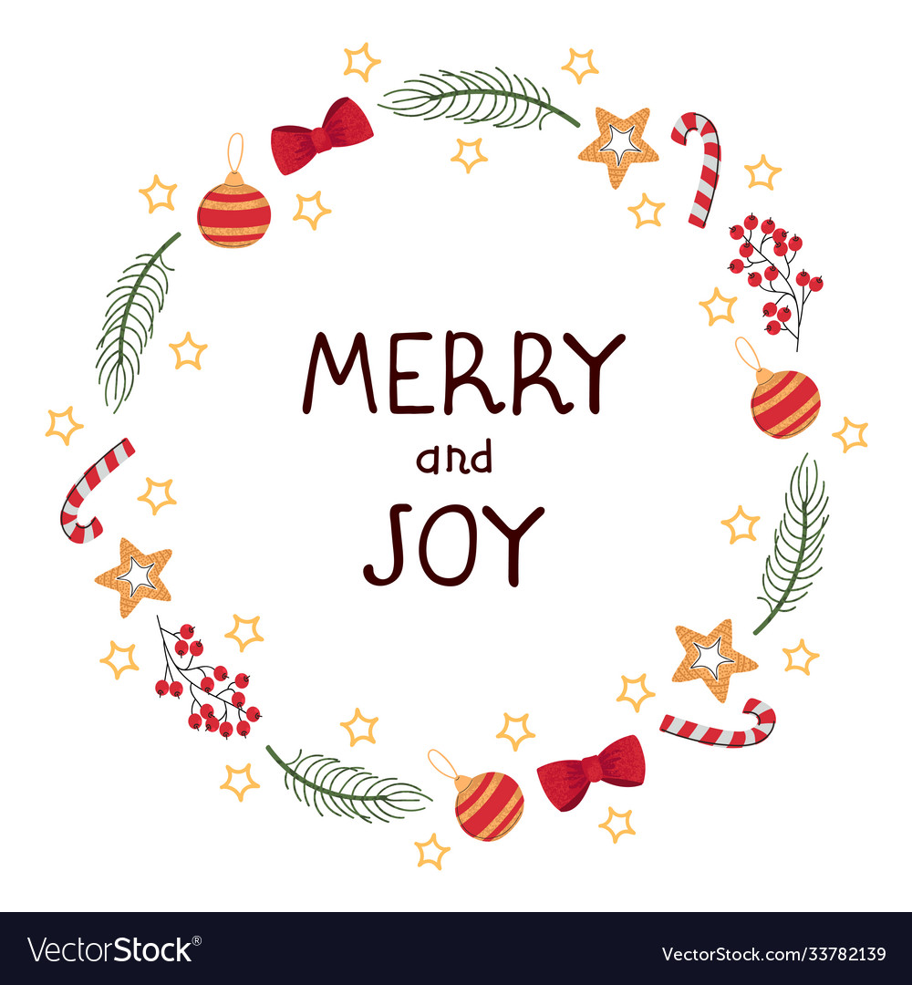 Christmas wreath template and lettering merry ang