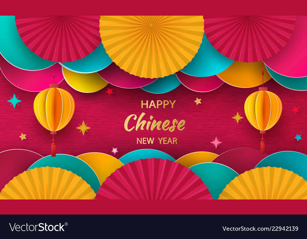 Happy New Year 2019 Chinese New Year Greeting Vector Image