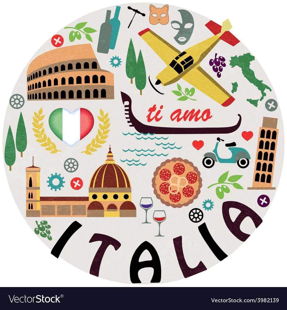 Italy Symbols Of Cities Set Royalty Free Vector Image