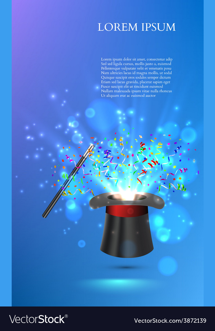 Magician Top hat with fireworks from confetti