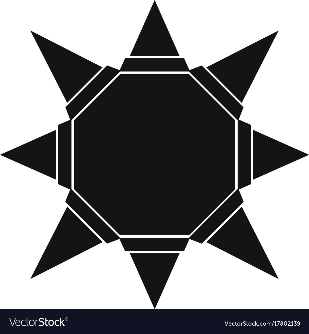 Origami Sun Icon Simple Black Style Royalty Free Vector