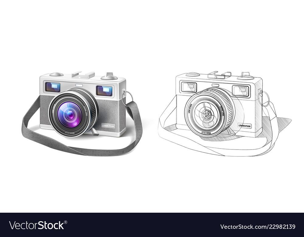 Realistic vintage film photo camera macro lens