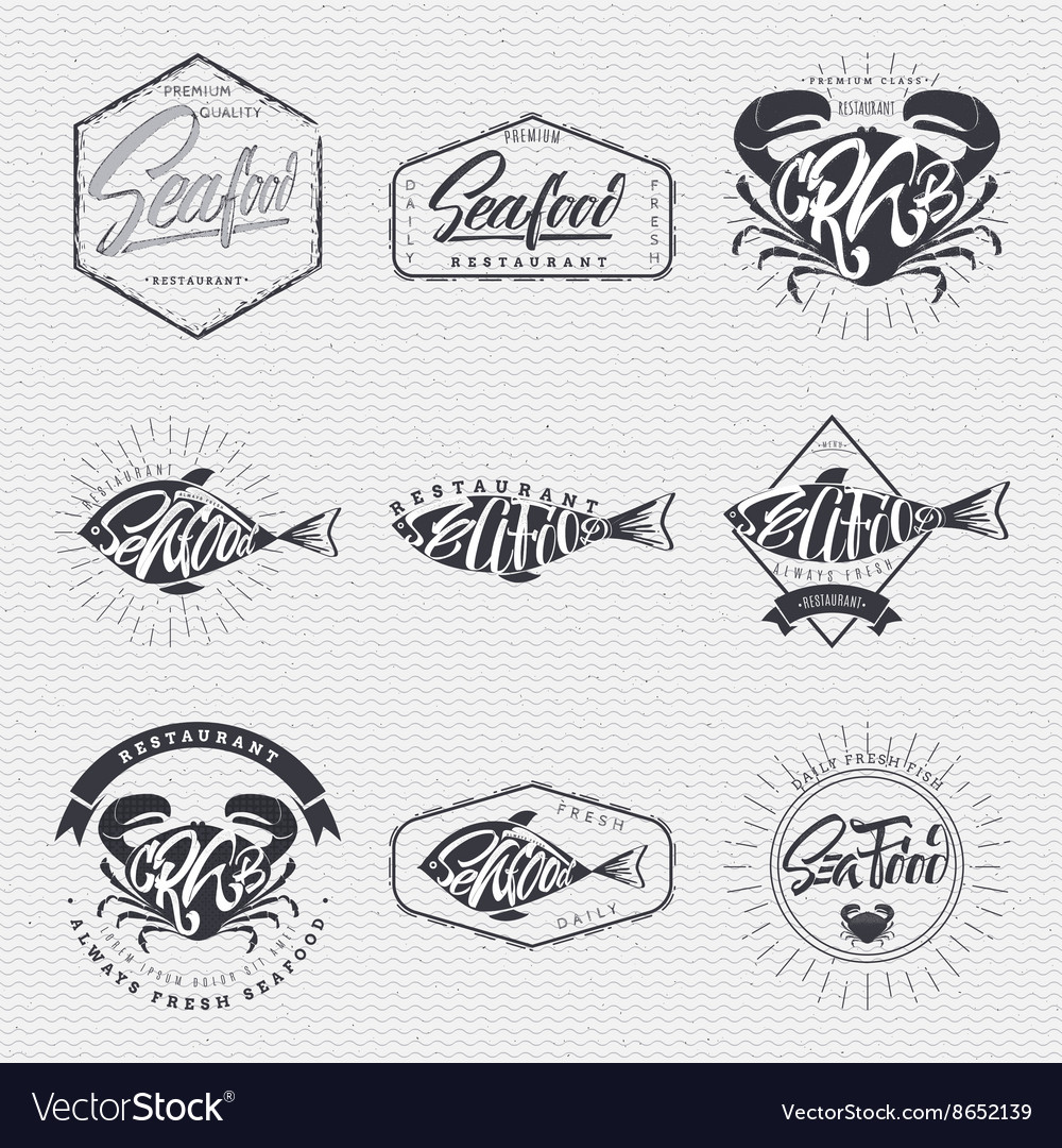 seafood poster stamp badge insignia postcard vector image