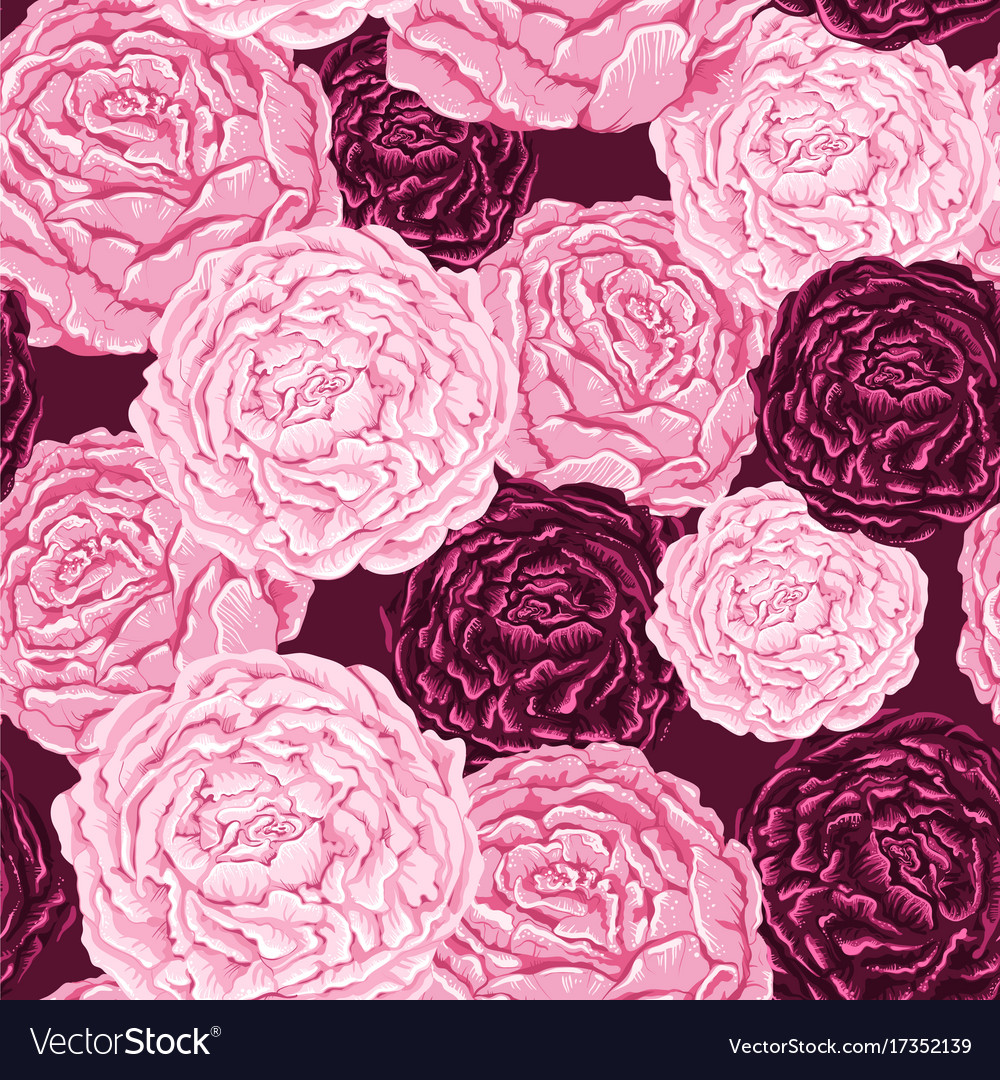 Seamless pattern of pink and burgundy flowers with vector image