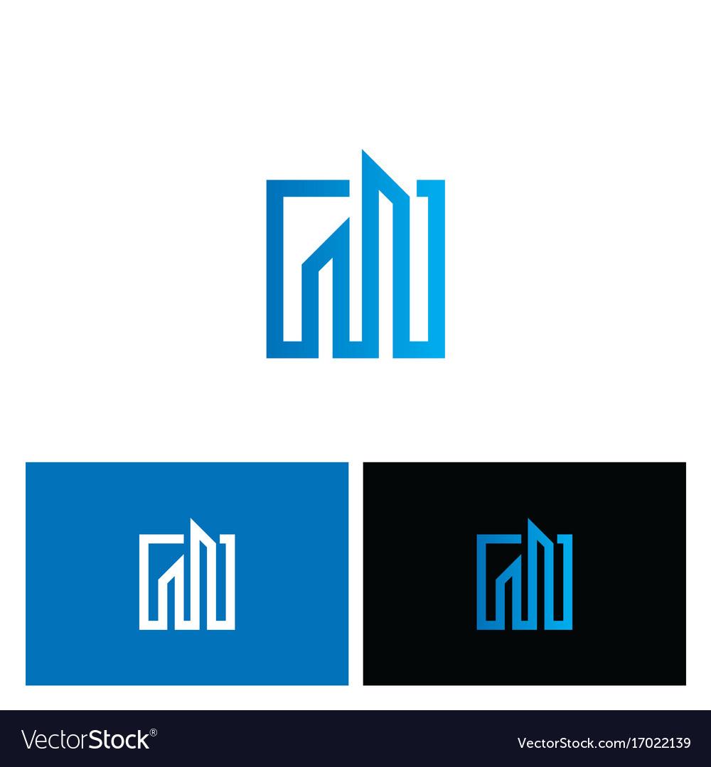 Square line building company business logo