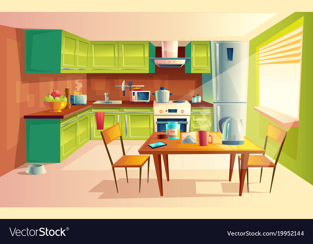 Cartoon of kitchen interior Royalty Free Vector Image