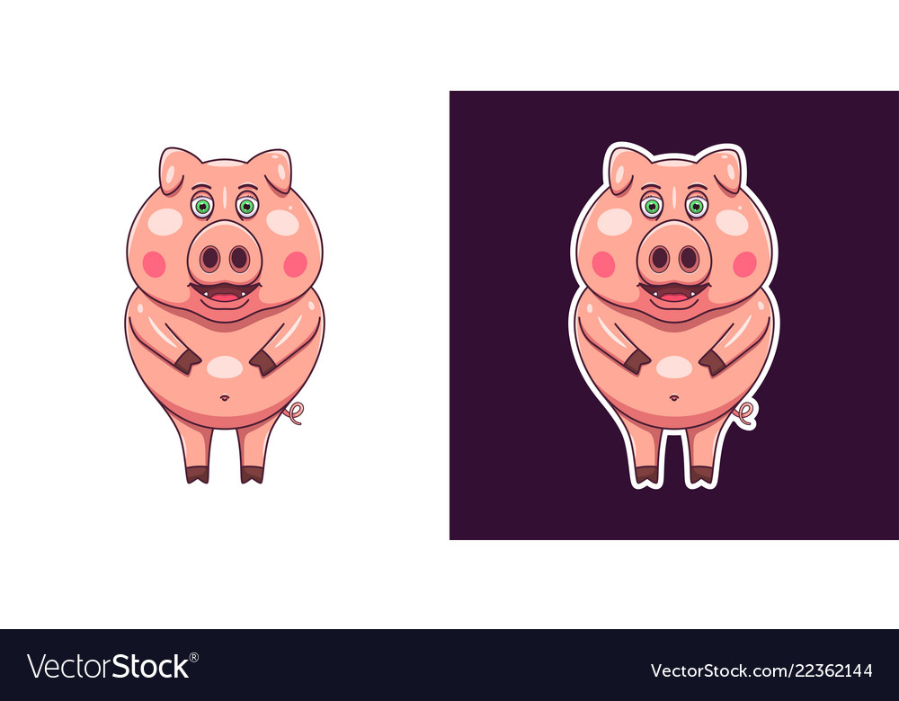 Cheerful and smiling pig in flat style
