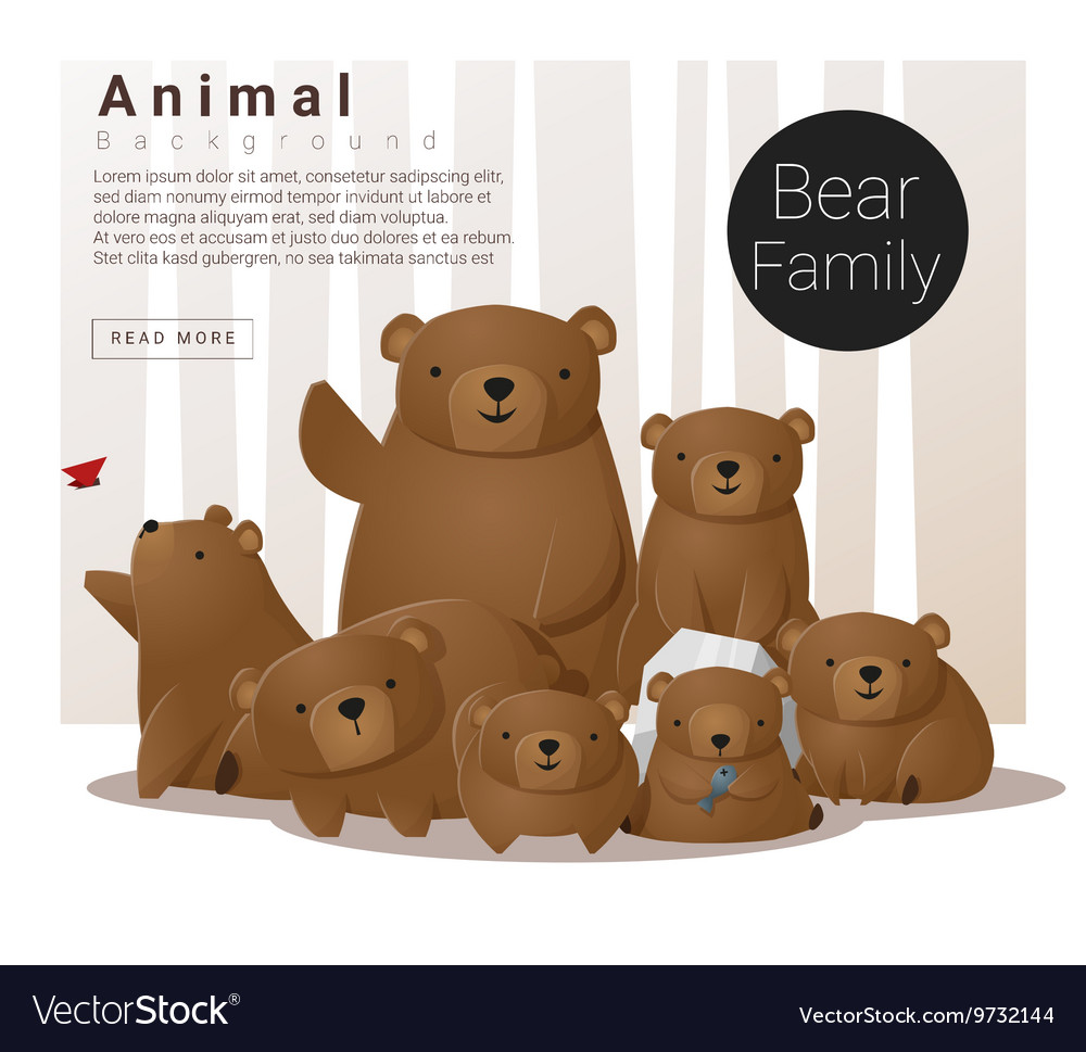 Cute animal family background with Bears