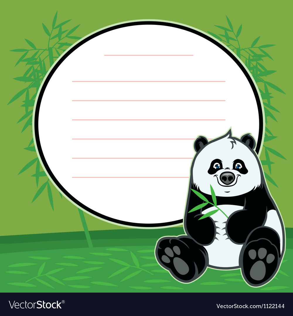 cute happy baby panda eat bamboo royalty free vector image