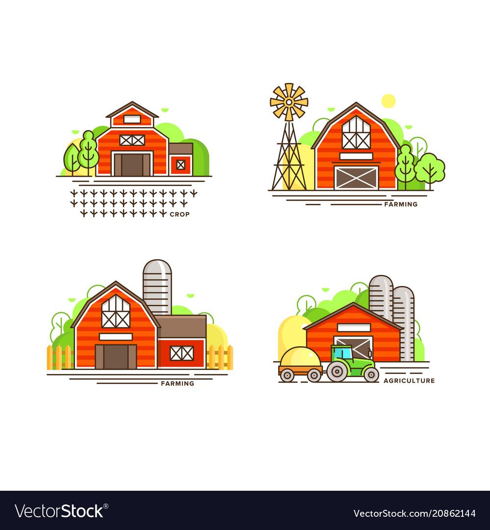 Farming logo collection in line design farm barns