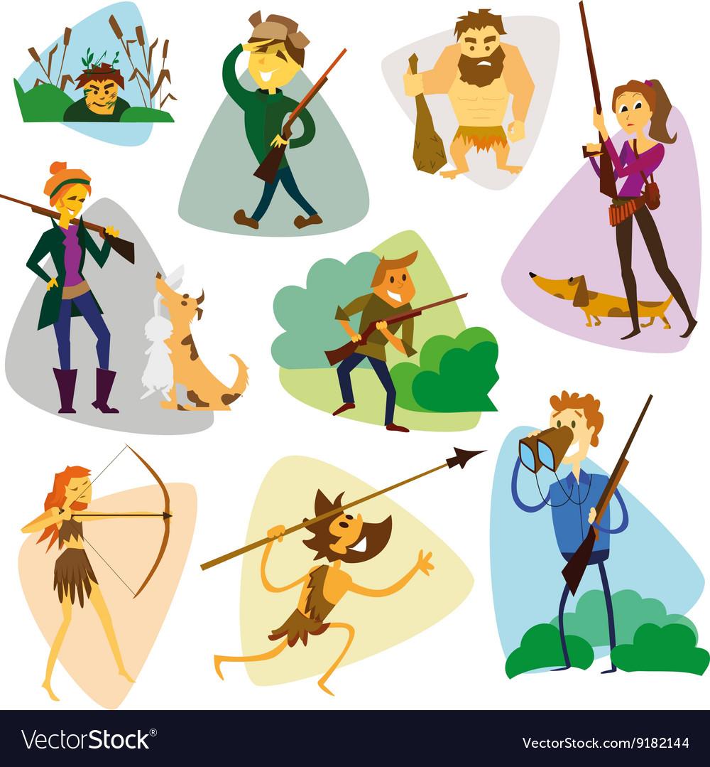 Funny cartoon hunters set Hunter cartoon set