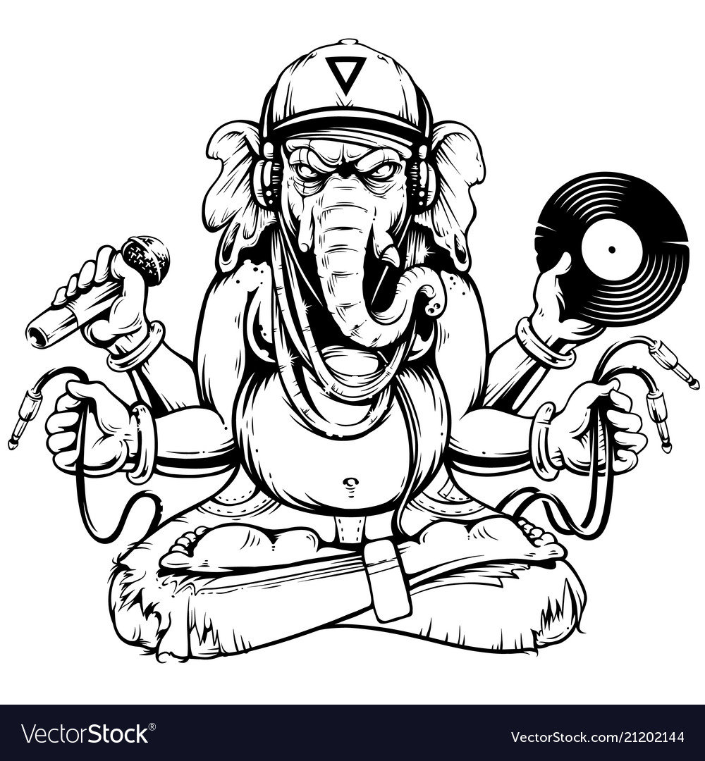 Ganesha with musical attributes