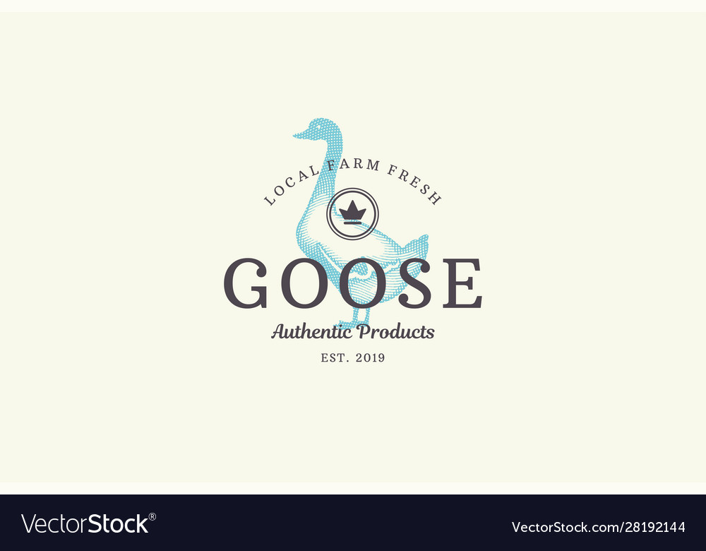 Hand drawn logo poultry goose silhouette and