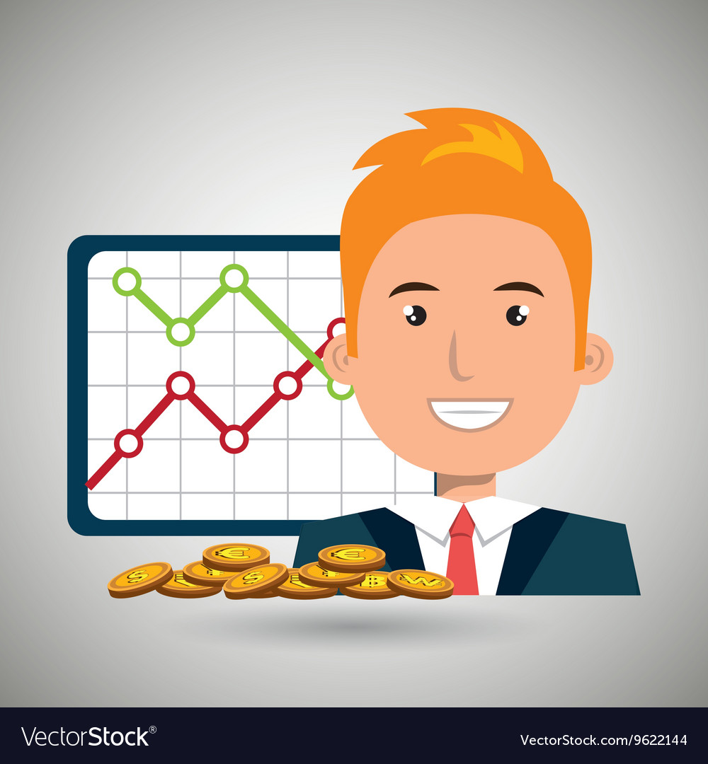 Man with statistics graphic and coins isolated
