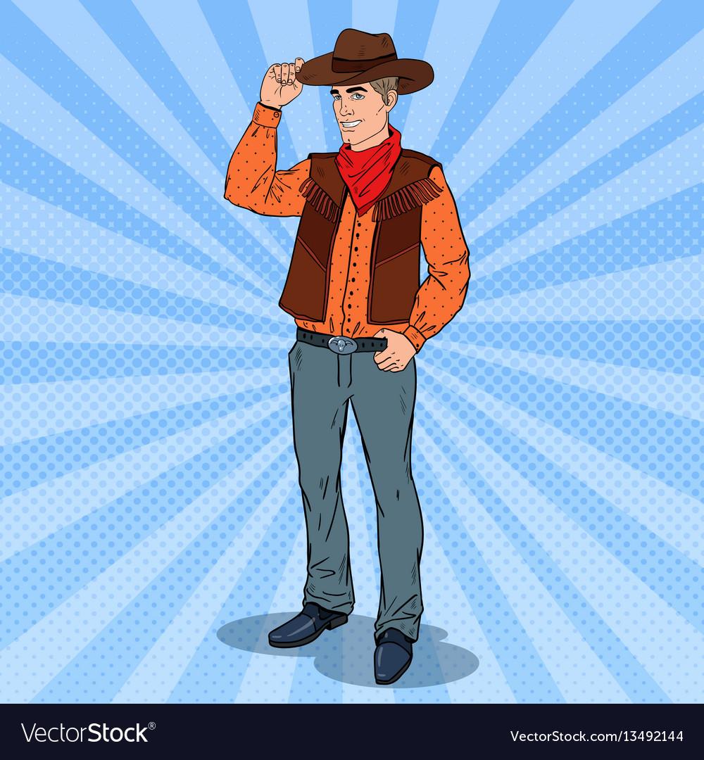 Pop art cowboy in hat smiling wild west hero vector image