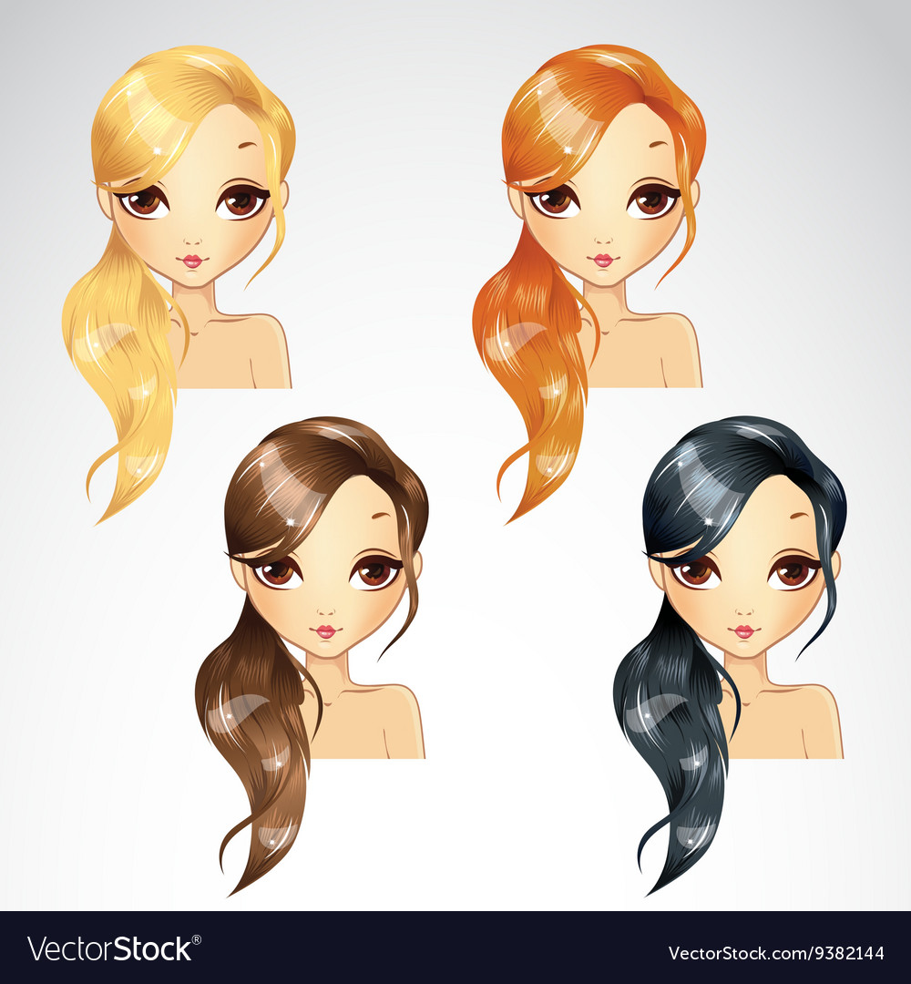Set Of Hair Tail On One Side vector image