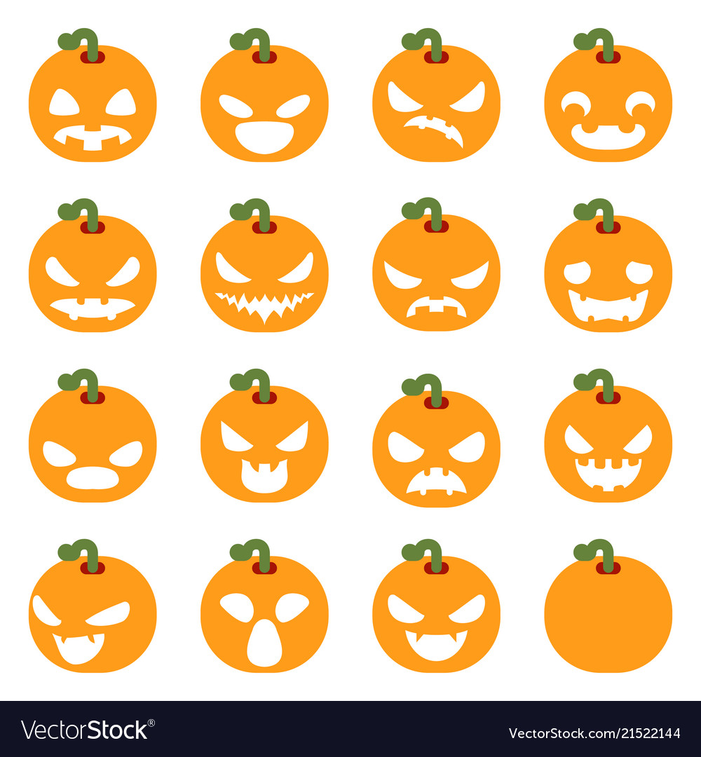 simple halloween pumpkin decoration scary faces vector image rh vectorstock com pumpkin scary faces ideas scary pumpkin faces clipart