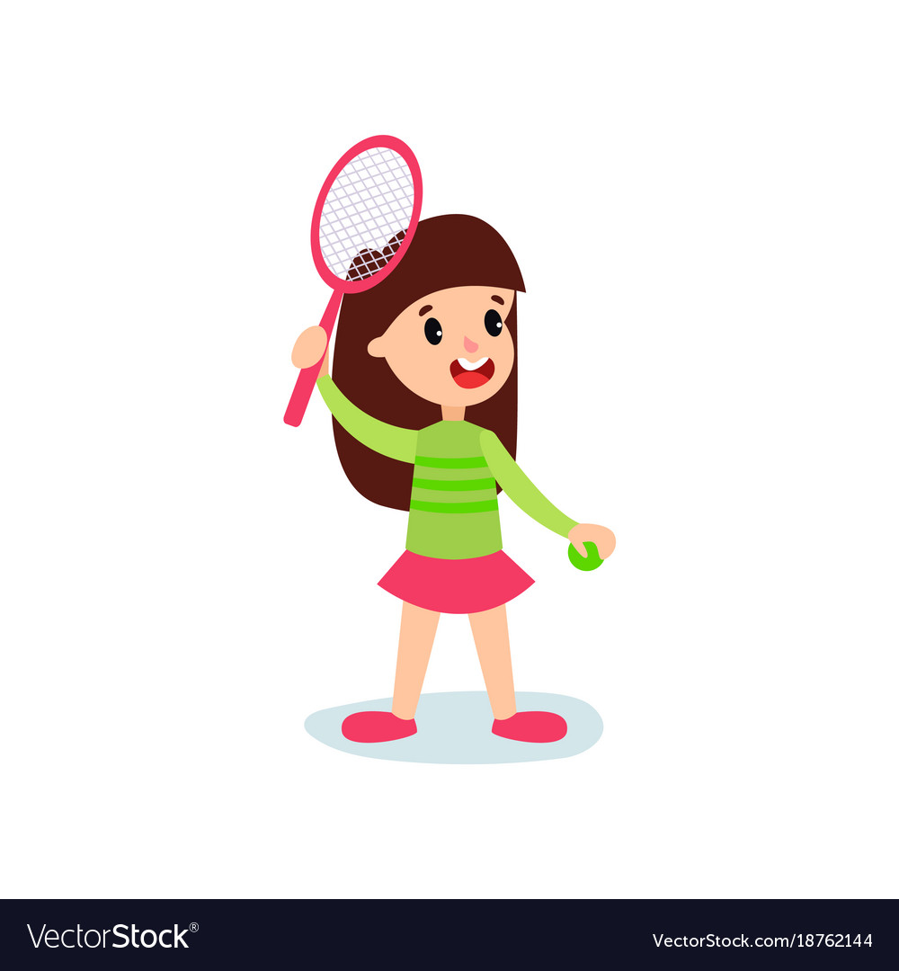 Smiling little girl character playing tennis or