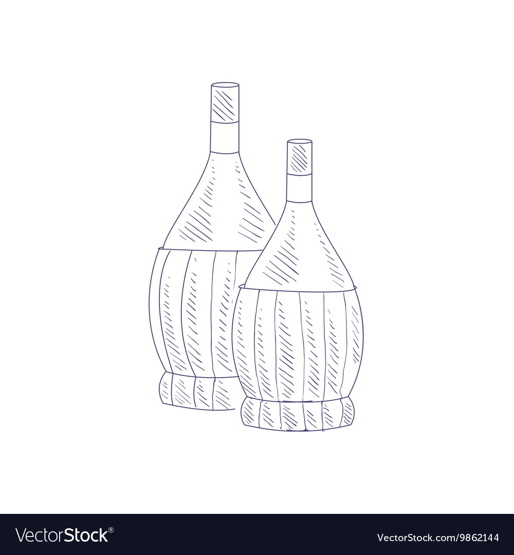 Two Braided Wine Bottles Hand Drawn Realistic