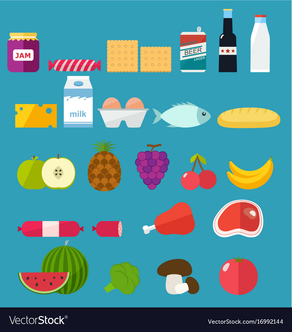 Vegetables and fruits icons set of food