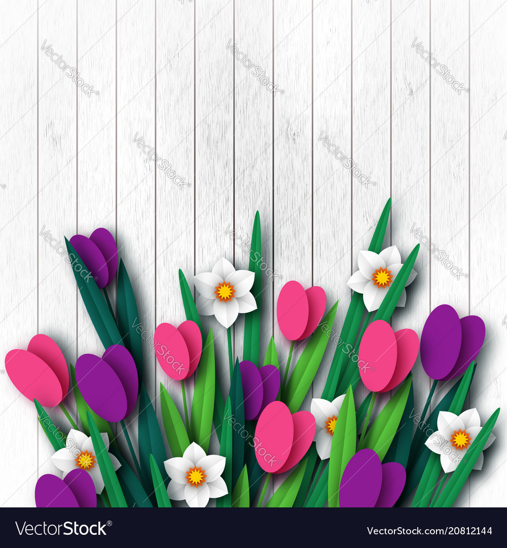 Wooden texture with paper cut spring flowers