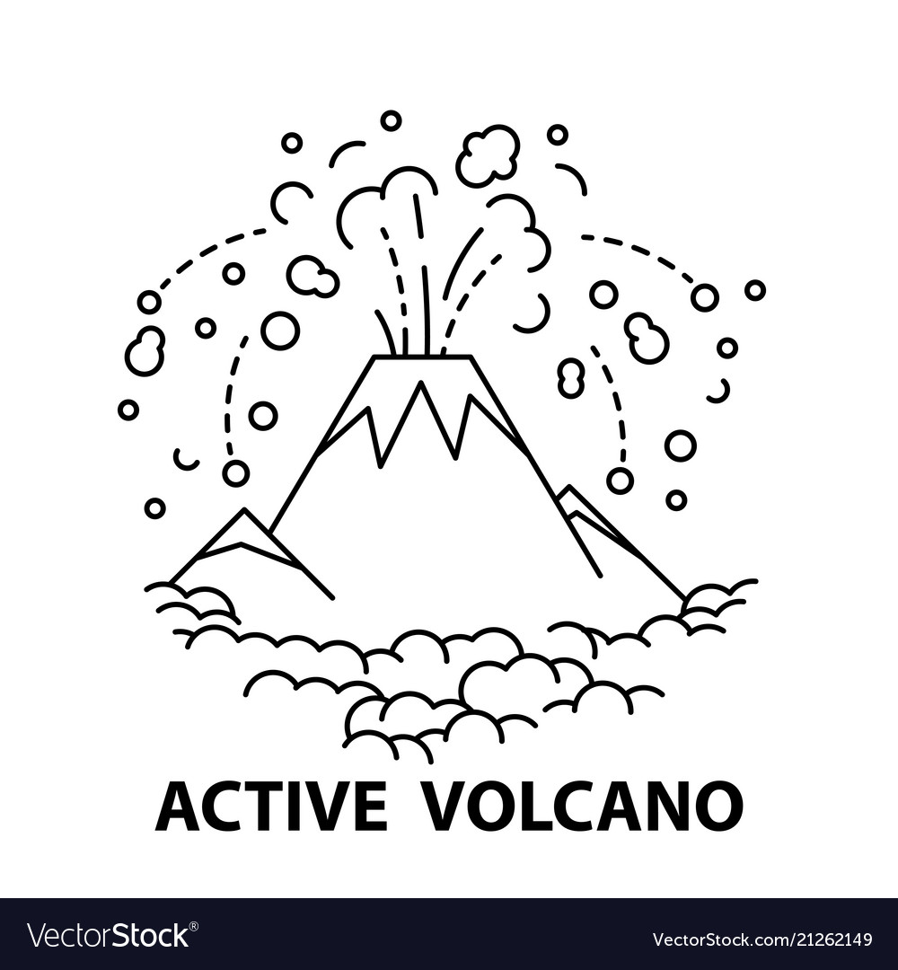 Active volcano icon vector