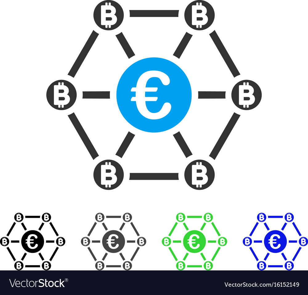 Bitcoin euro net structure flat icon