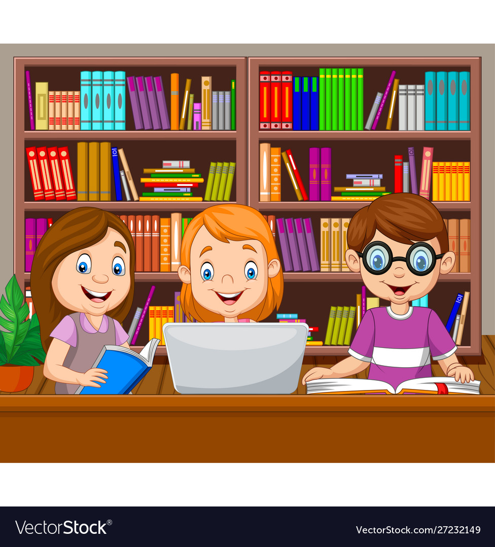Cartoon kids studying in library