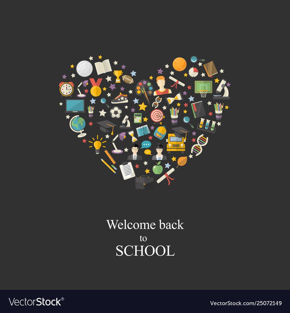 Educationknowledge icon set in heart symbol in