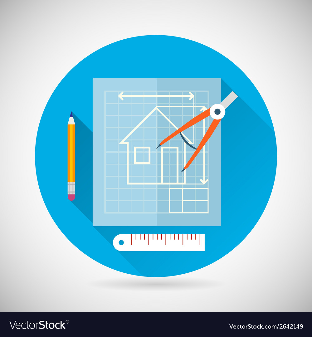 Engineering planning symbol blueprint and compass vector image malvernweather Images