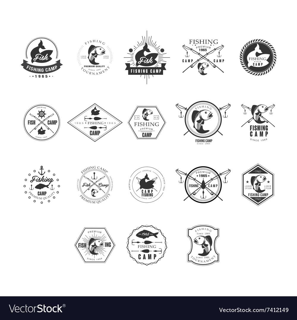 Fishing Retro Design Insignias Logotypes Set