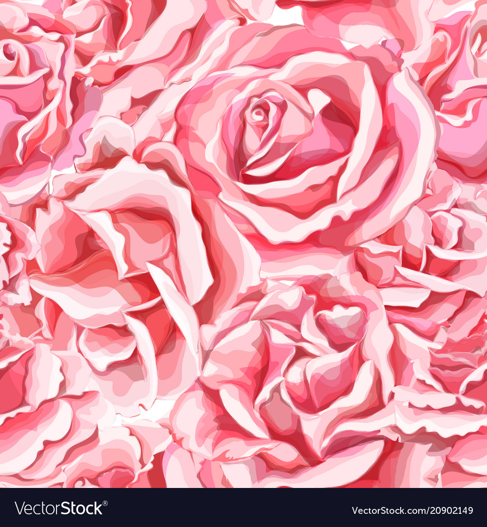 Hand rose flower blossom seamless pattern