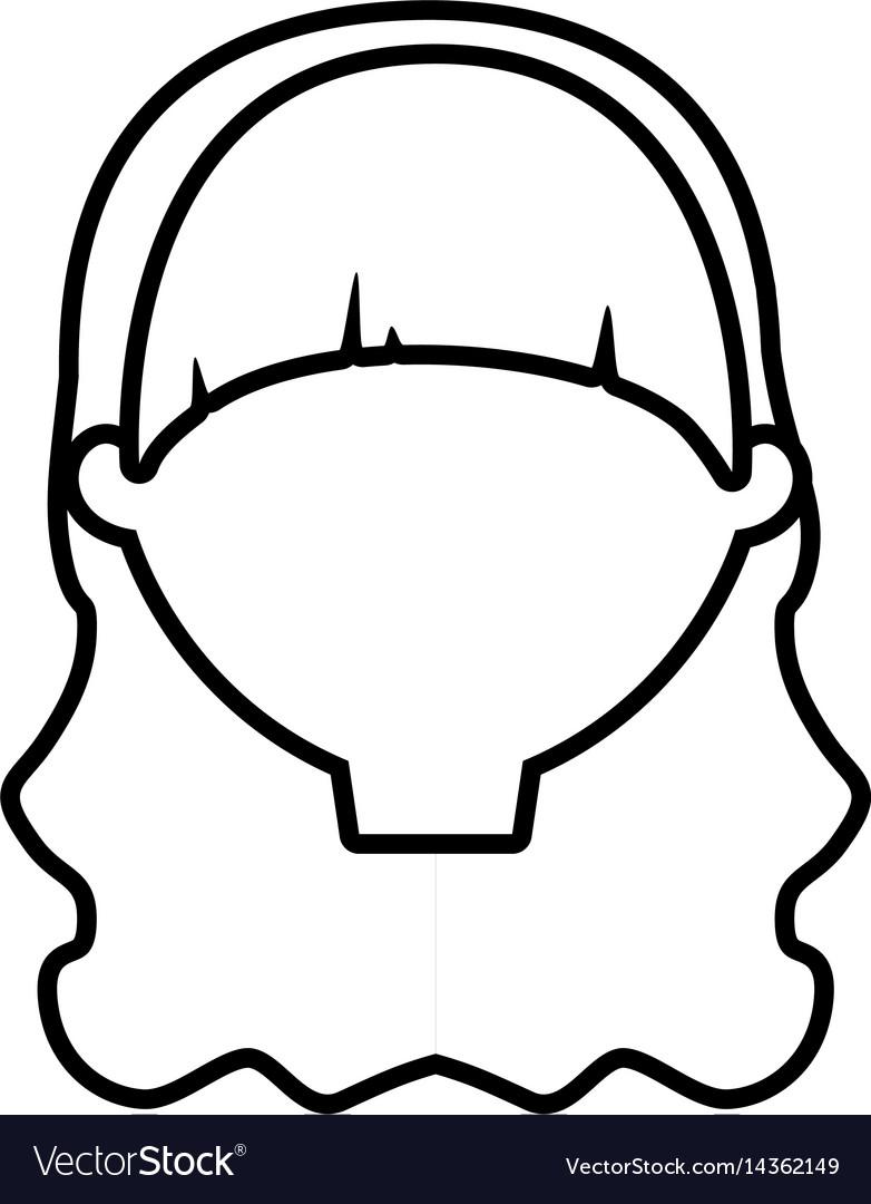 Head female woman thin line