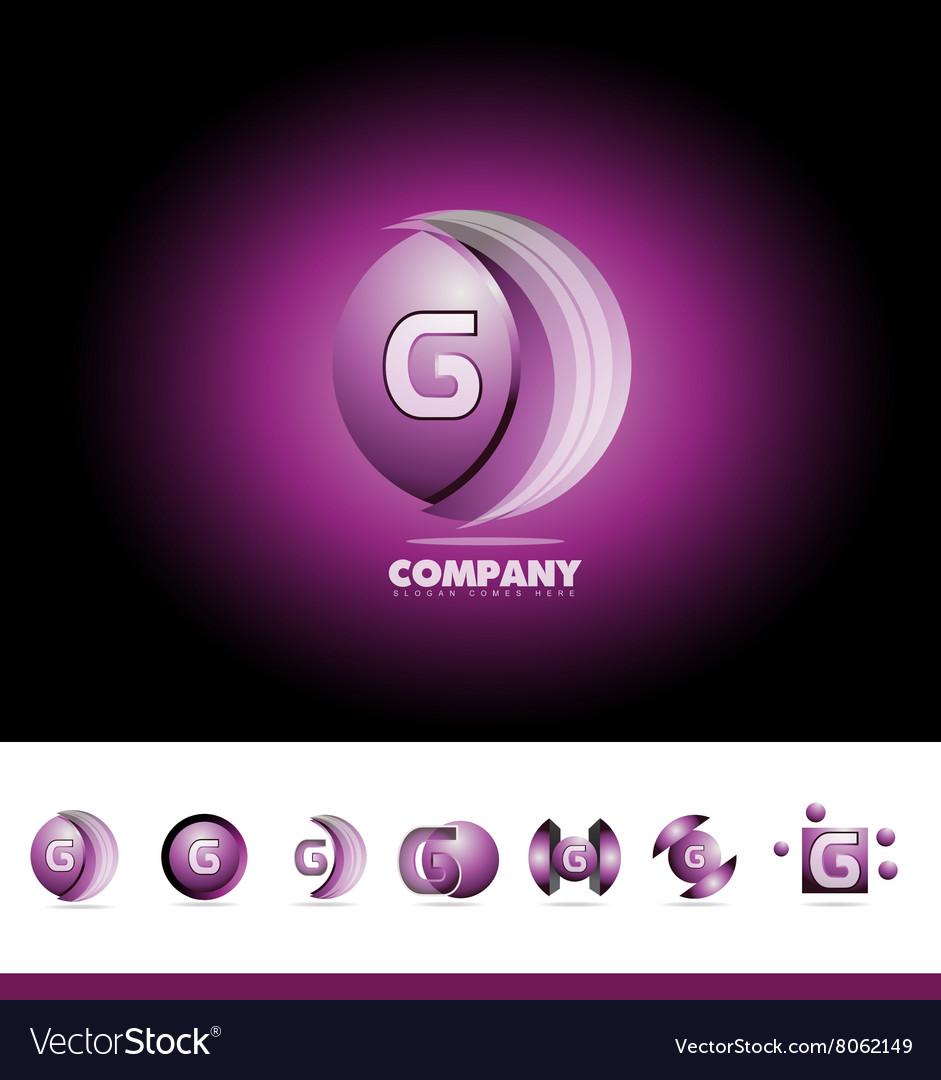 Letter G sphere 3d logo vector image