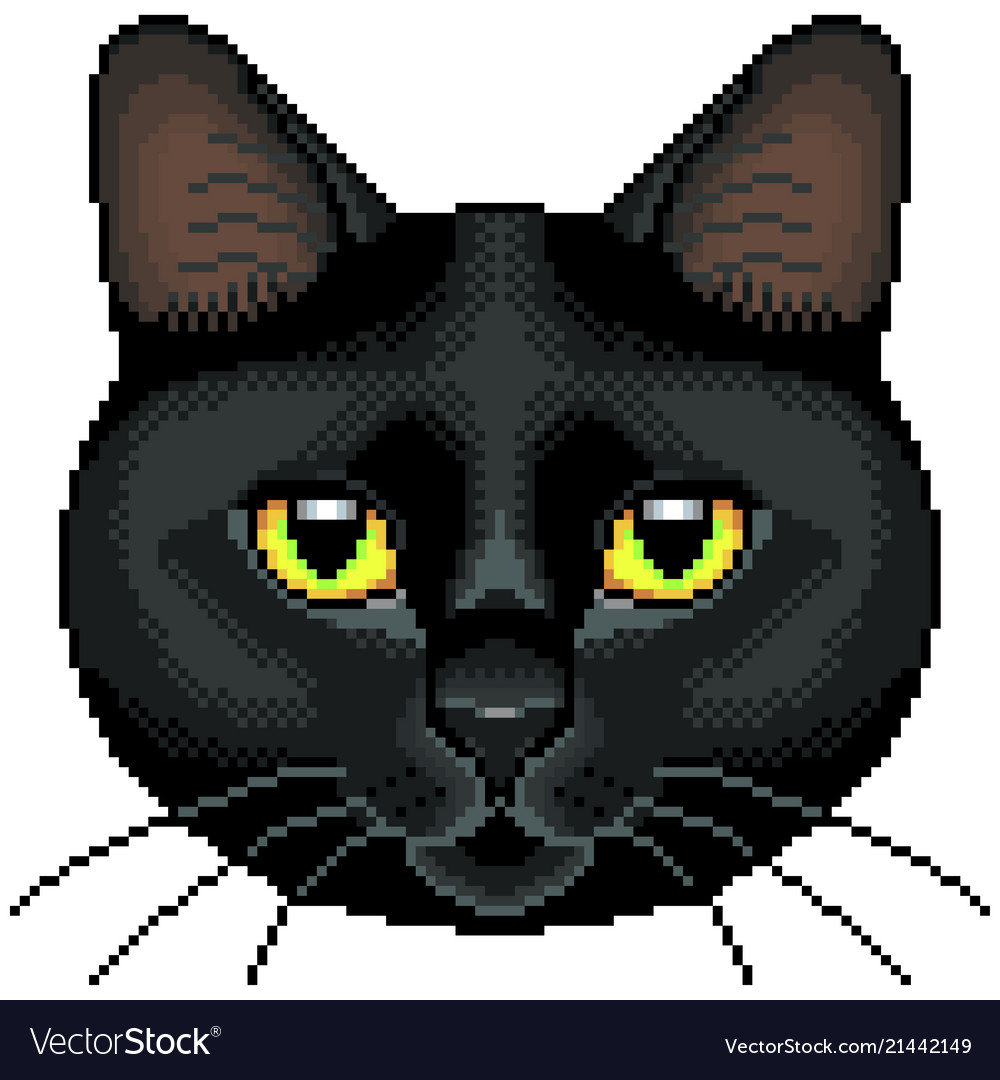 Pixel black cat face isolated