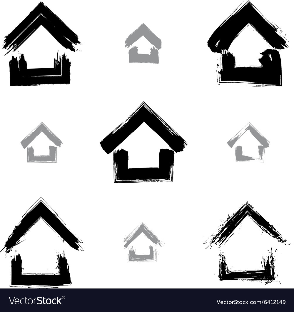 Set of hand-drawn monochrome home icons collection