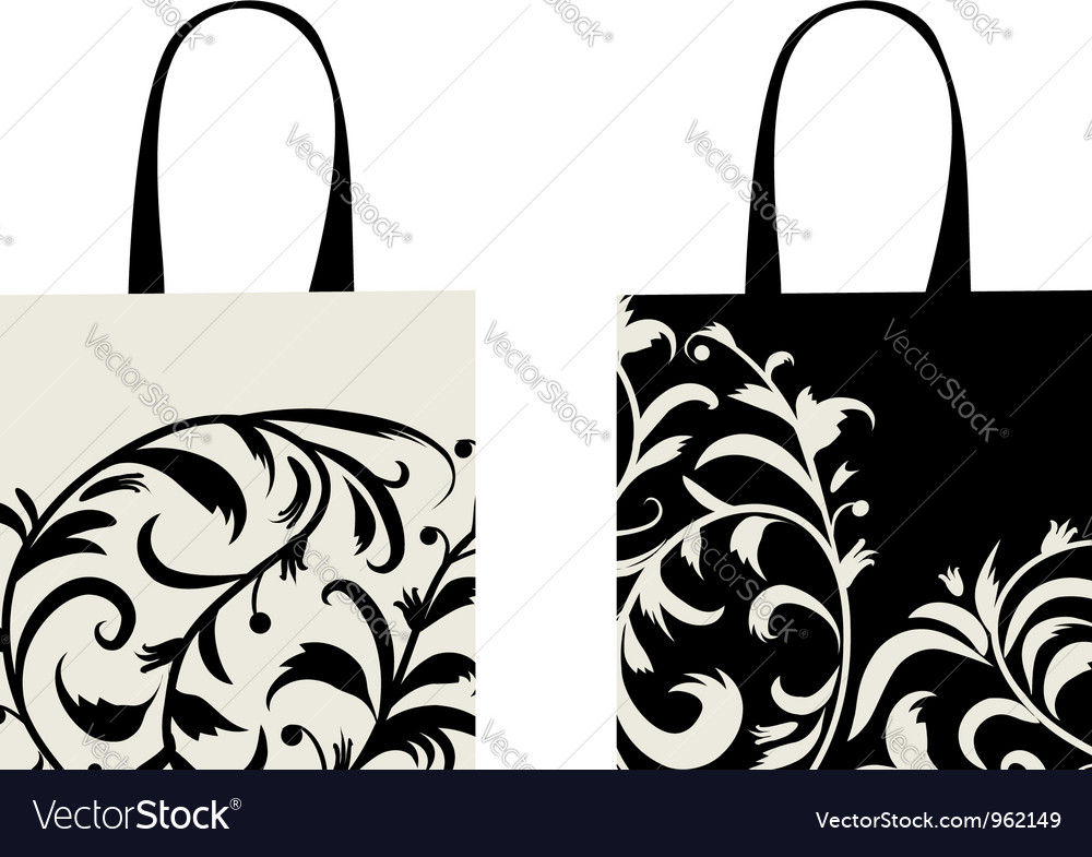 shopping bag design floral ornament royalty free vector
