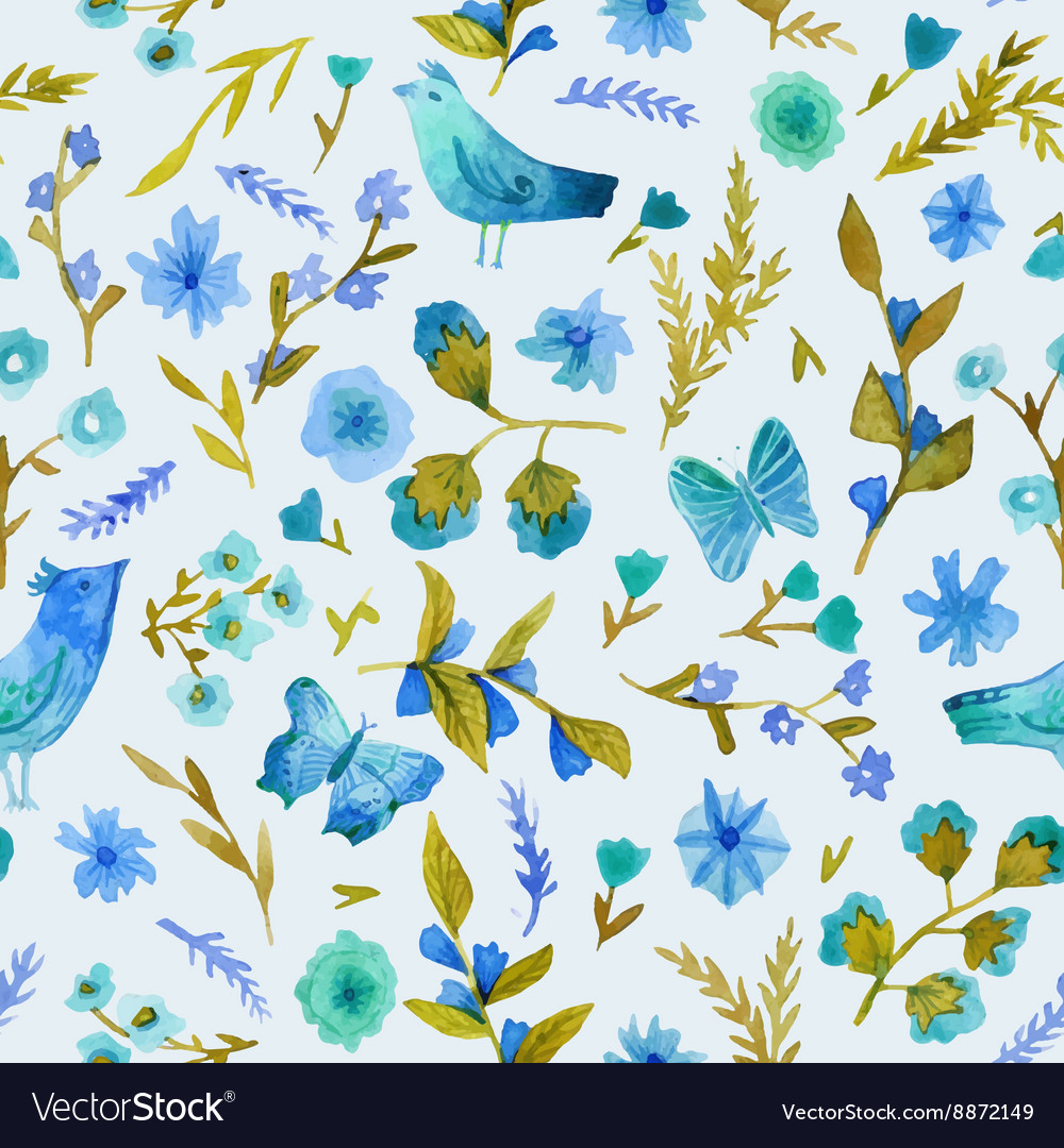Watercolor seamless pattern with flowers leaves