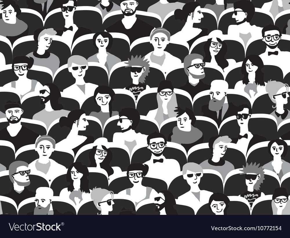 Audience group people sitting black and white