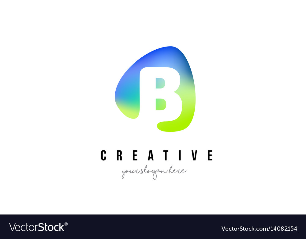 B letter logo design with oval green blue shape