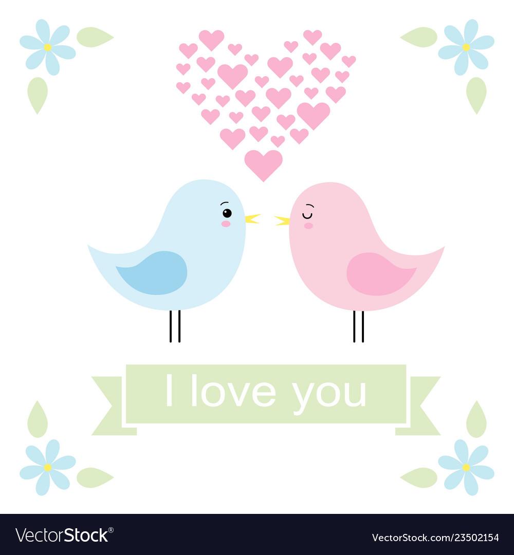 Couple of cute birds in love