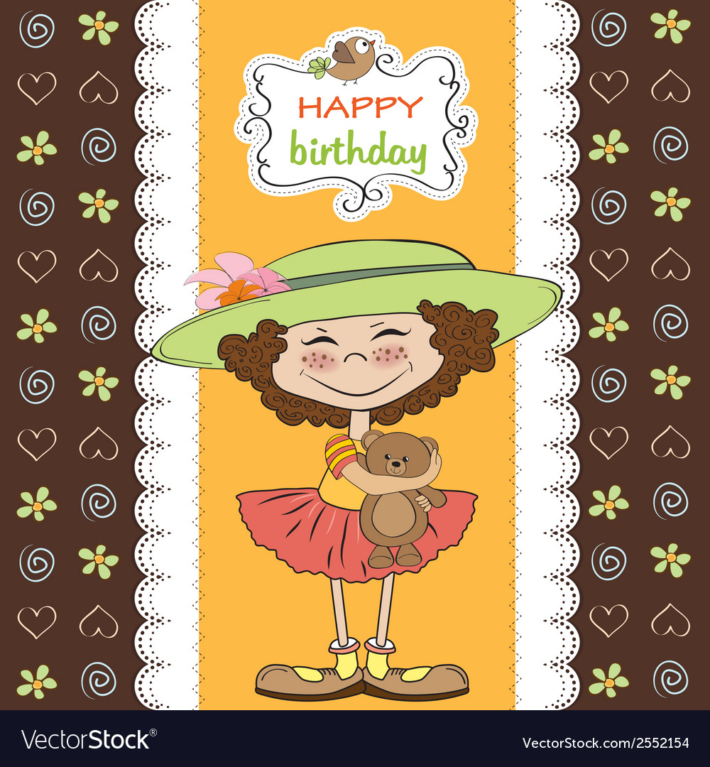 Cute Birthday Greeting Card With Girl And Her Vector Image