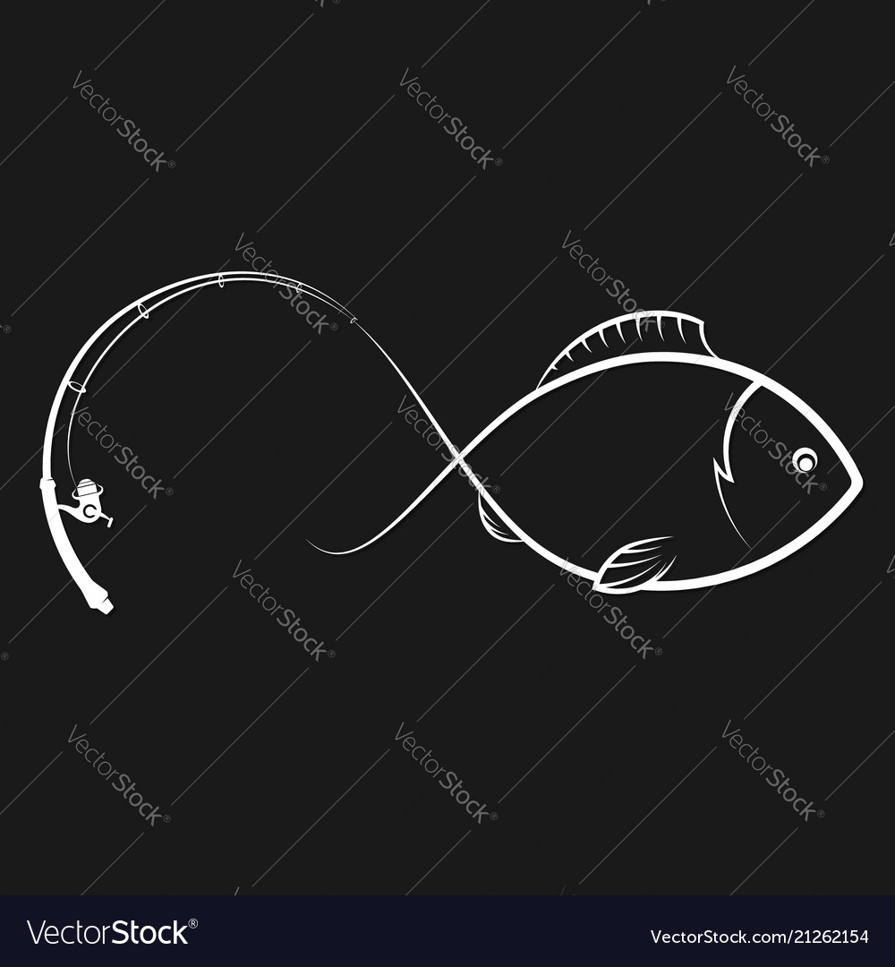 Fishing rod and fish silhouette
