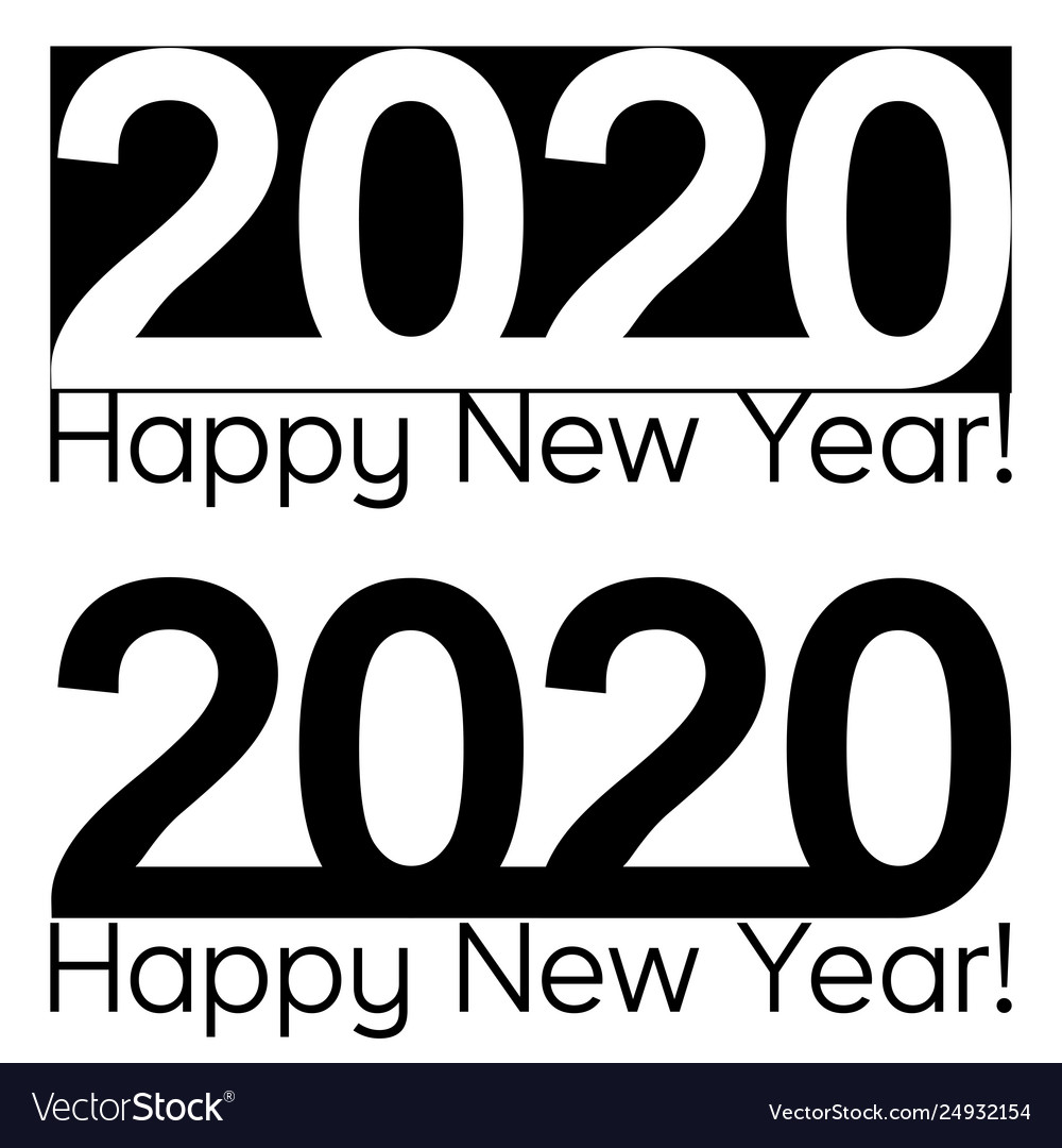 Happy new year 2020 text lettering brochure