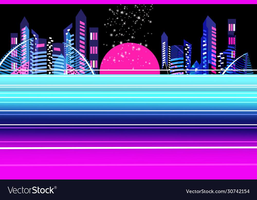 Neon city at sunset