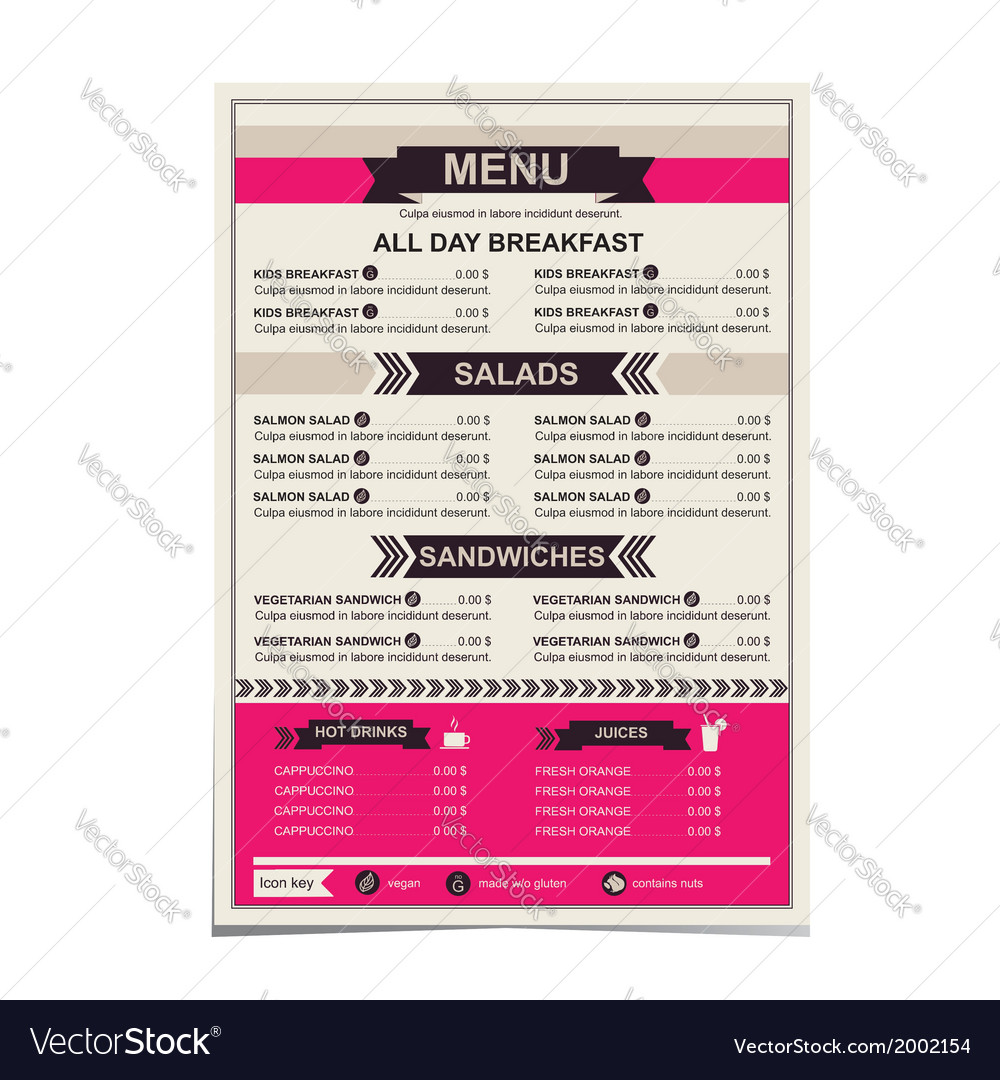Restaurant menu template design Royalty Free Vector Image